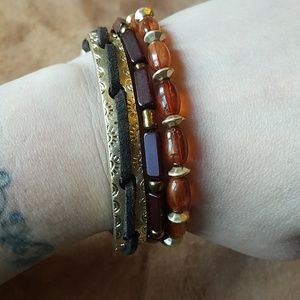 Brassy burgundy and amber beaded bracelets